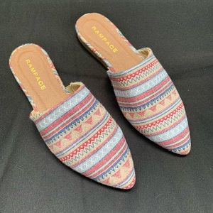 Rampage Blue Red Multi-color Pointed Flats 6.5. A